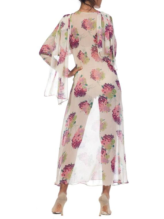 Sheer-silk 1920s Floral Chiffon Dress Size: S - image 10
