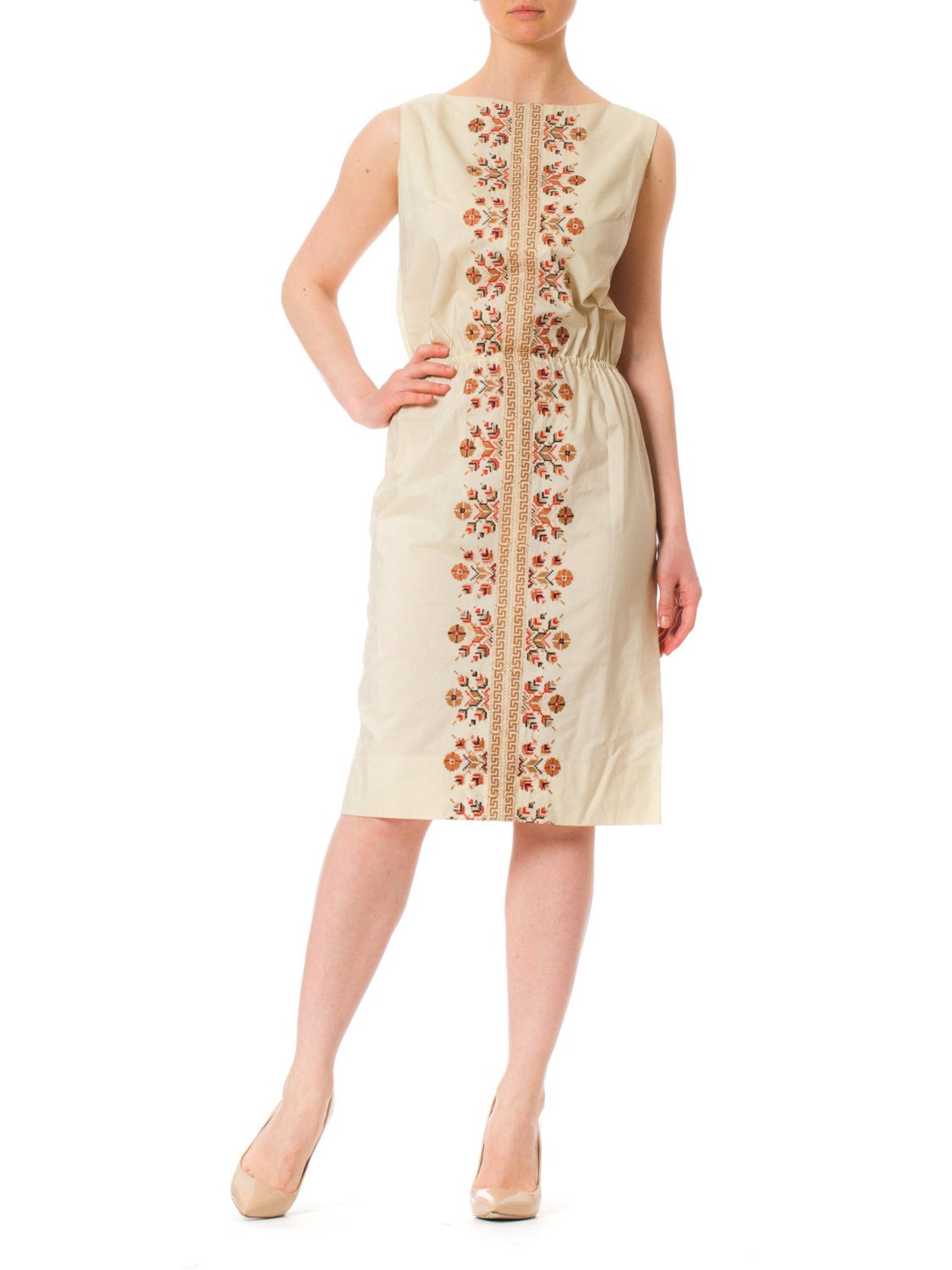 b69b133b5b6 1940s Ethnic Cross Stitch Embroidery Cotton Sleeveless Dress