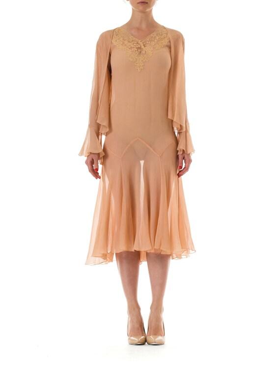 1920s Silk Chiffon Lace Sheer Dress with Matching Jacket Size: XS