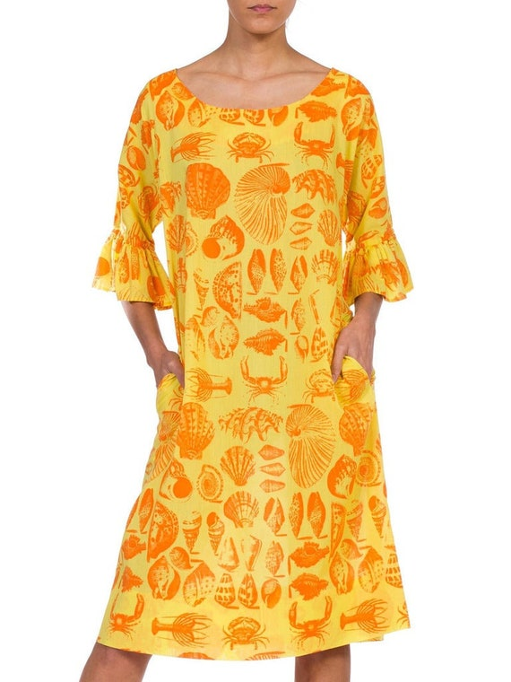 1970S Yellow & Orange Cotton Blend Bright Seaside… - image 1