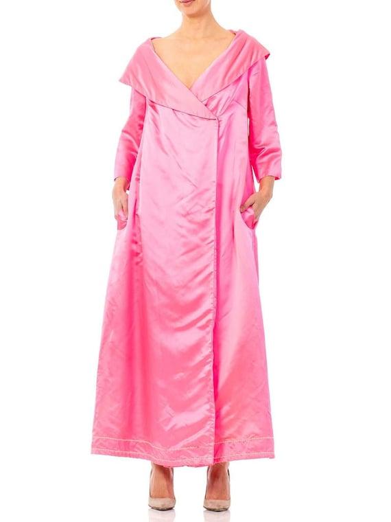 1950S Hot Pink Silk Satin Evening Cocktail Coat