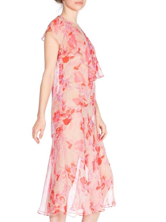 1920S Silk Chiffon Pink Floral Drop Waist Day Dre… - image 4