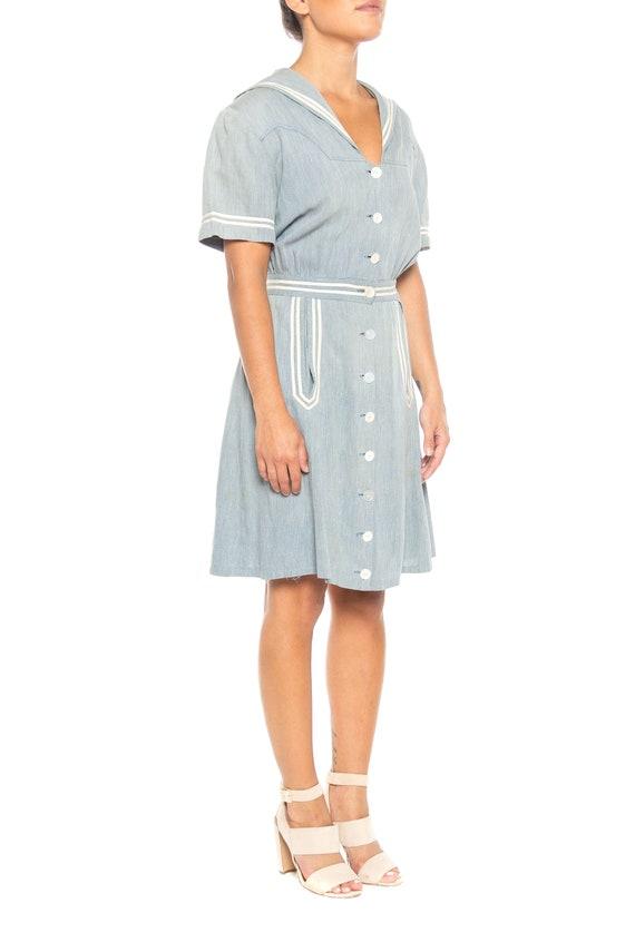 1930S Organic Cotton Chambray  Sailor Day Dress - image 3