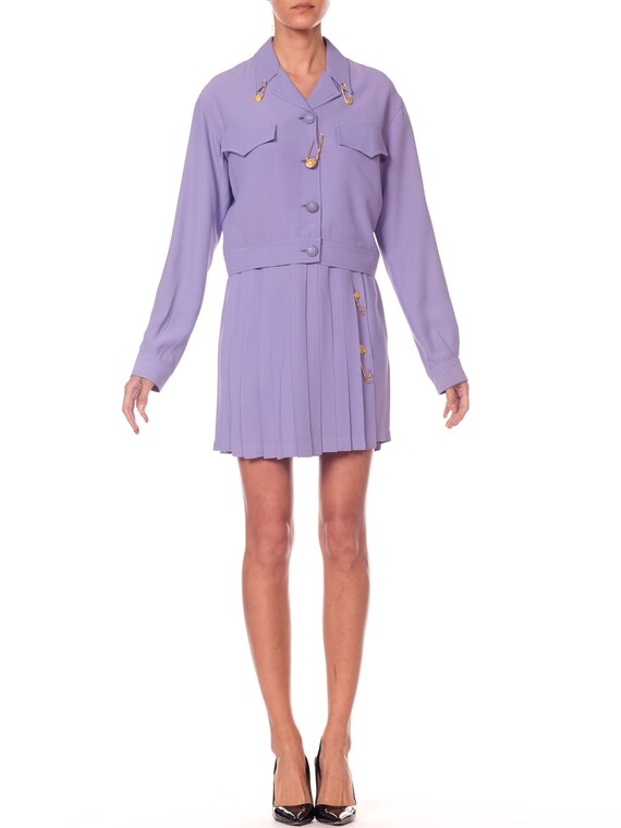 1990S Gianni Versace Lilac Rayon Blend Crepe Safet