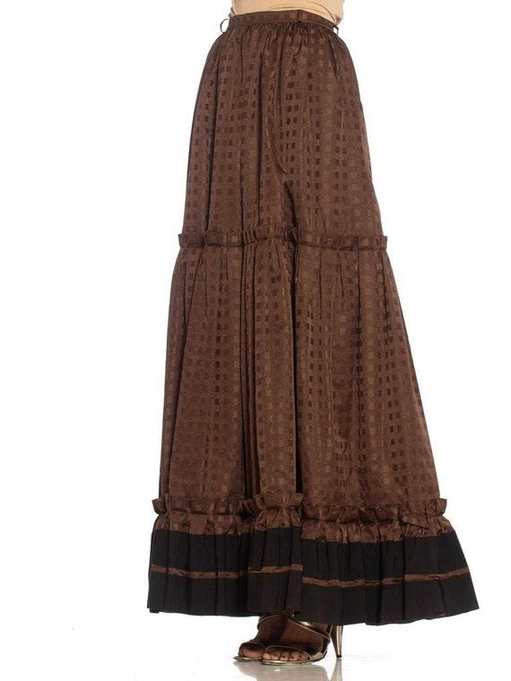 1970S Lanvin Brown Haute Couture Silk Full Pleate… - image 3