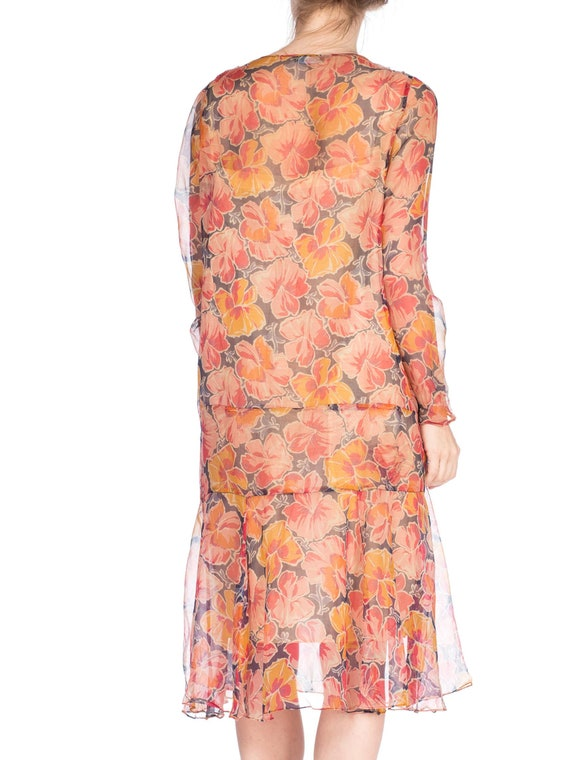 1920S Silk Chiffon Tropical Floral Drop Waist Day… - image 3