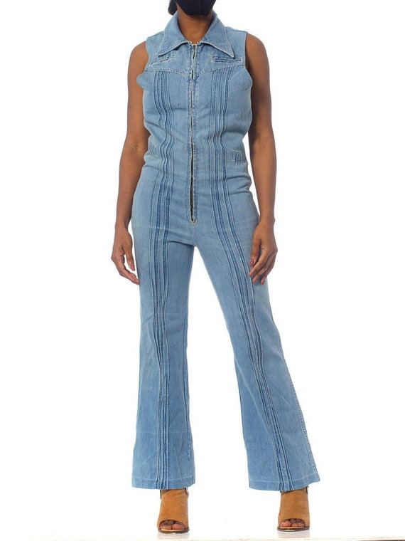 1970S Blue Cotton Denim Sleeveless Jumpsuit