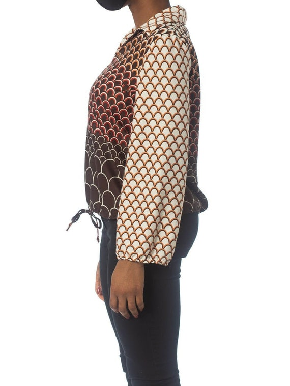 1960S Brown & Orange Polyester Jersey Geometric P… - image 8