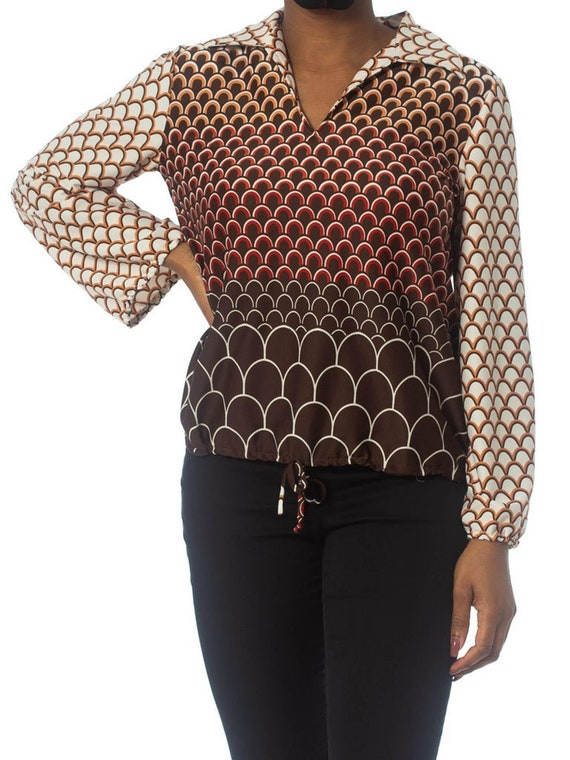 1960S Brown & Orange Polyester Jersey Geometric P… - image 2