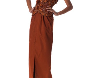 Vintage 1980s Strapless Copper Gown with 3D Embroidered Flowers Size: XS/S