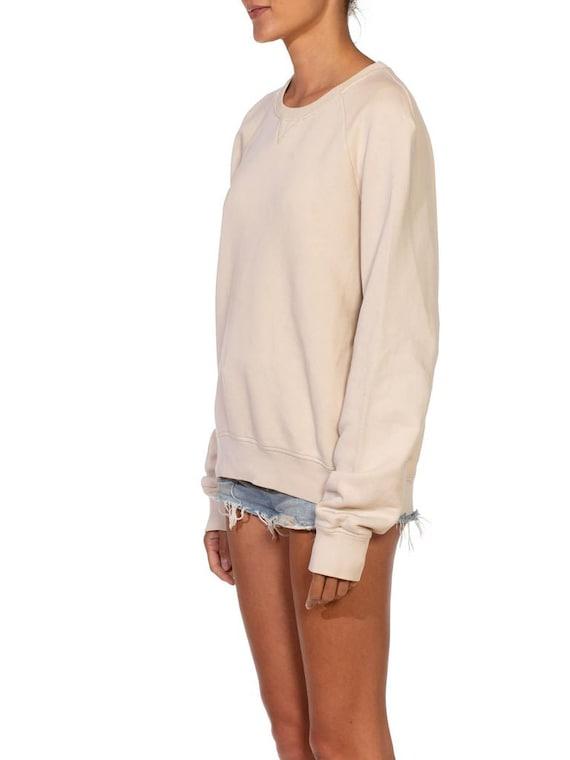 1990S Prada Cream Cotton Long Sleeve Sweatshirt S… - image 5
