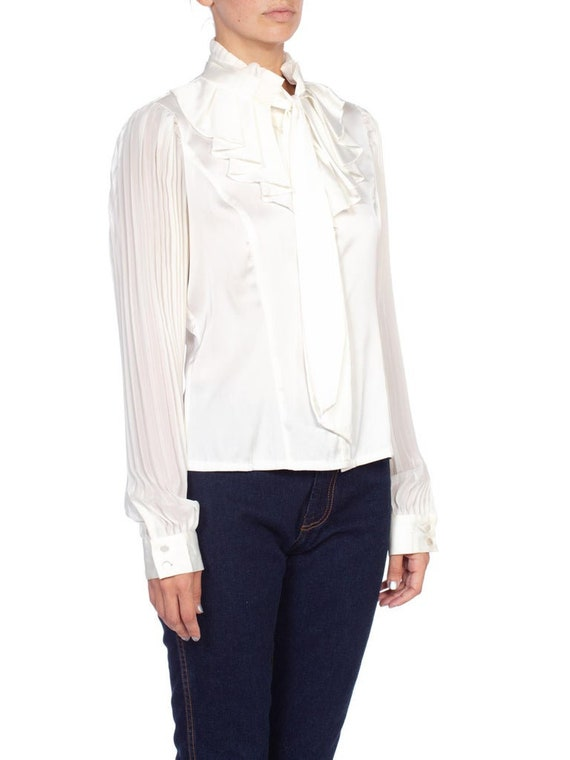1970'S White Polyester Sateen Ruffled Bow Neck Bl… - image 4