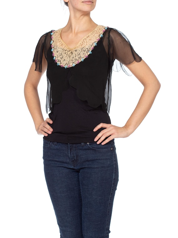1920s Silk Chiffon and Lace Beaded Top - image 4