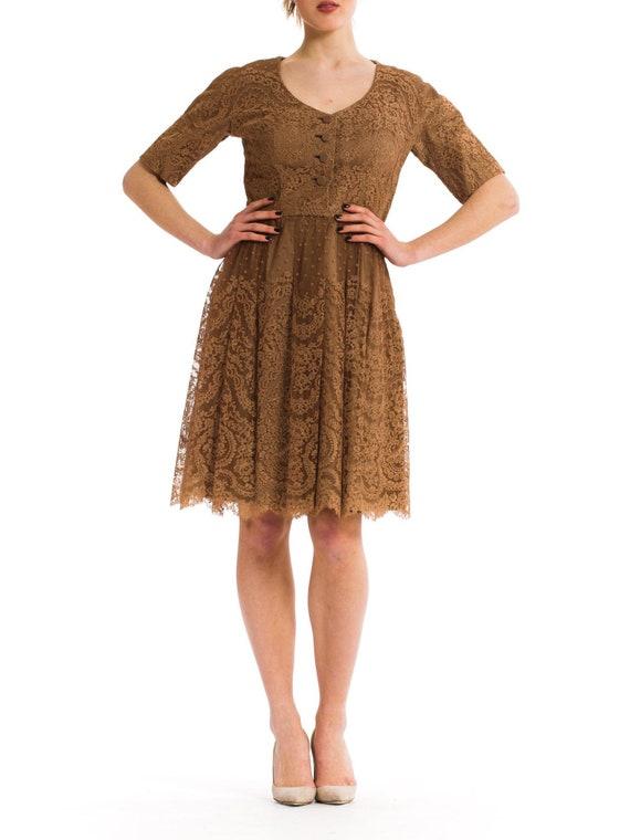 1950S Nat Kaplan Brown Rayon  Silk Chantilly Lace