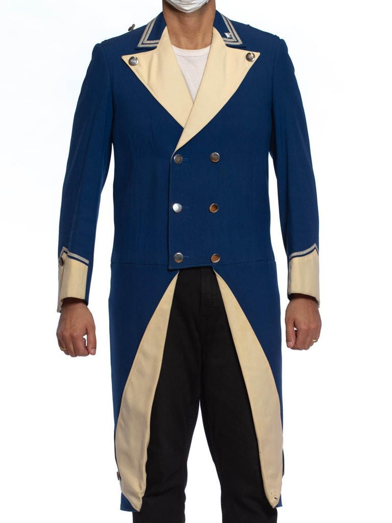 1950s Mens Hats | 50s Vintage Men's Hats 1950S Blue White Wool Mens 18Th Century Style Rfevolutionary Jacket With Tails $588.00 AT vintagedancer.com
