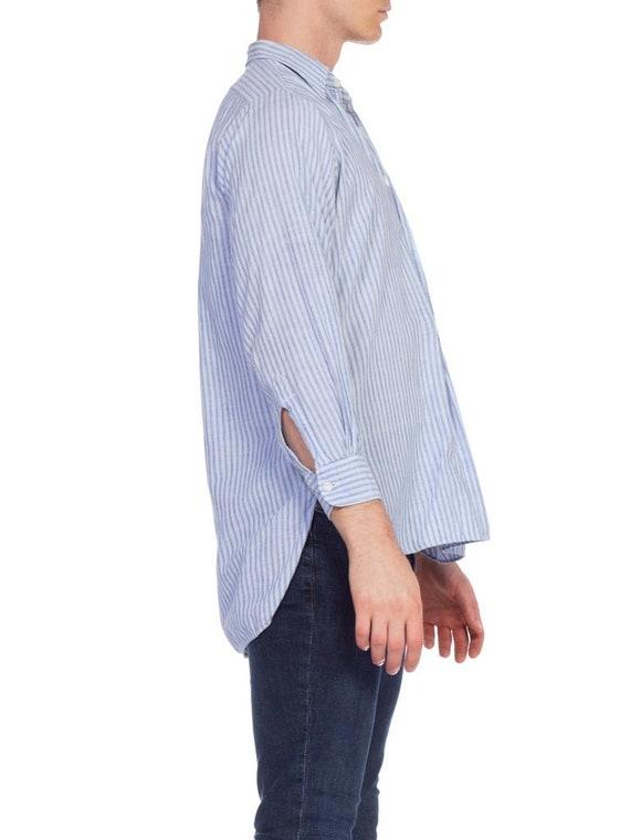 1930S Blue Linen Men's Striped Popover Shirt - image 6