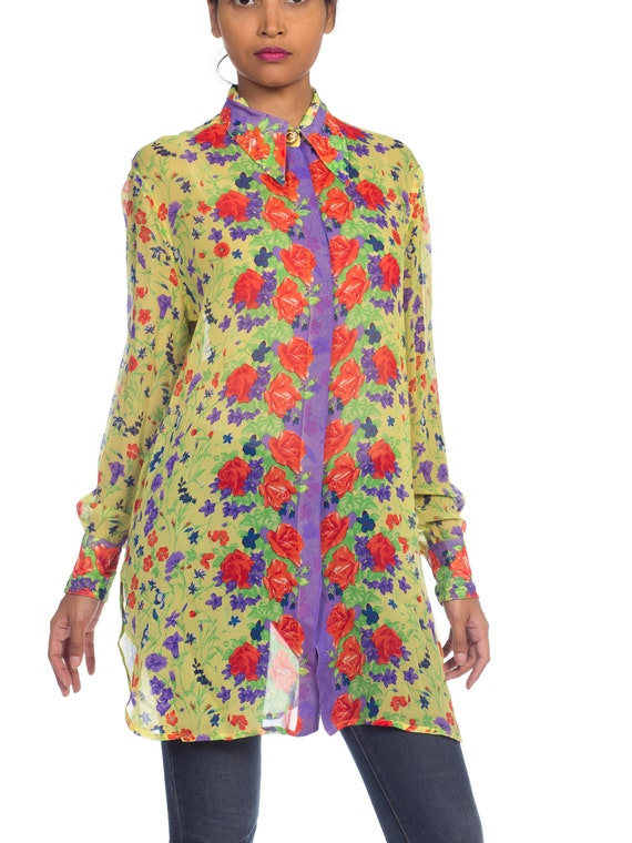 1990s-sheer Chiffon Gianni Versace Floral Boho Bl… - image 3