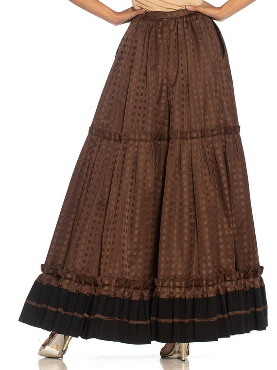 1970S Lanvin Brown Haute Couture Silk Full Pleate… - image 5