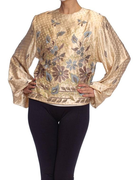 1980S Cream Silk Jacquard Metallic Floral Embroide