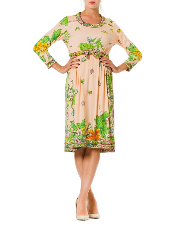 1960S Blush Pink Floral Polyester Jersey Long Slee