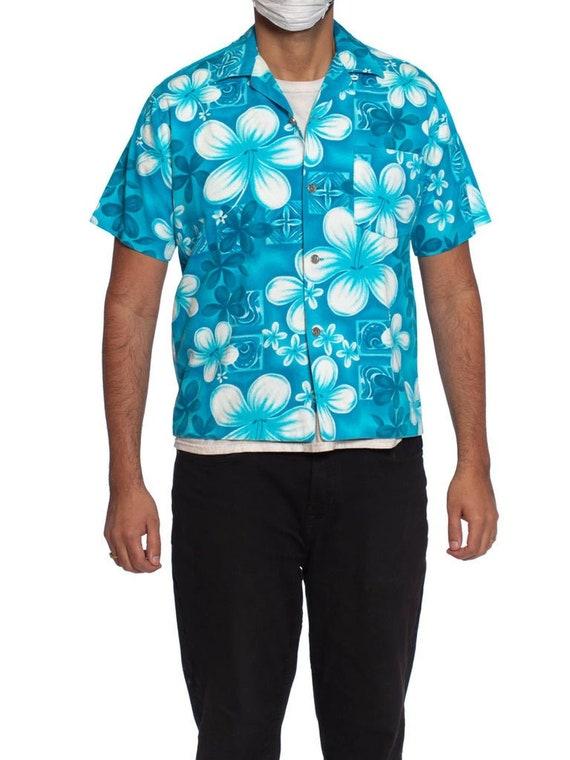 1960S Teal Hawaiian Cotton Barkcloth Men'S Shirt