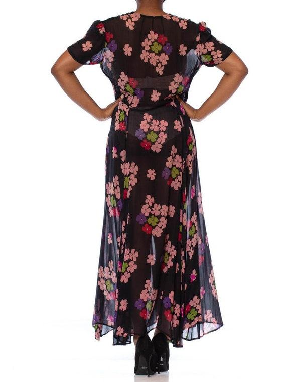 1930S Black Silk Chiffon Pink Floral Dress With L… - image 5