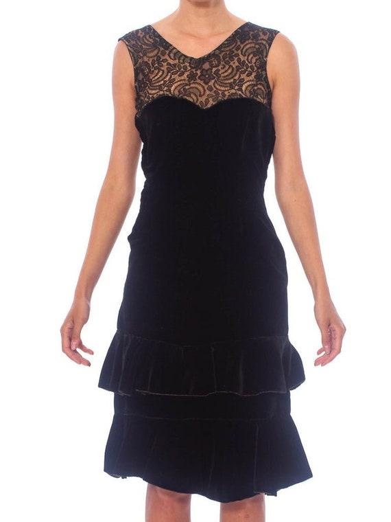 1920S Black Silk Velvet  & Lace Ruffled Hem Dress