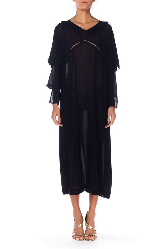 1920S Black Silk Chiffon Long Sleeve Day Dress Wi… - image 1
