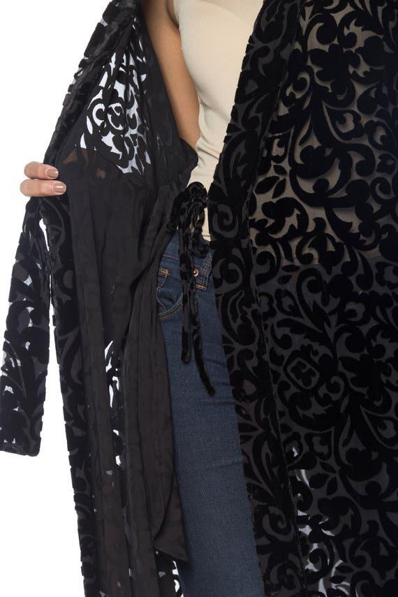 1920S Black Silk Burnout Velvet Wrap Robe With In… - image 5