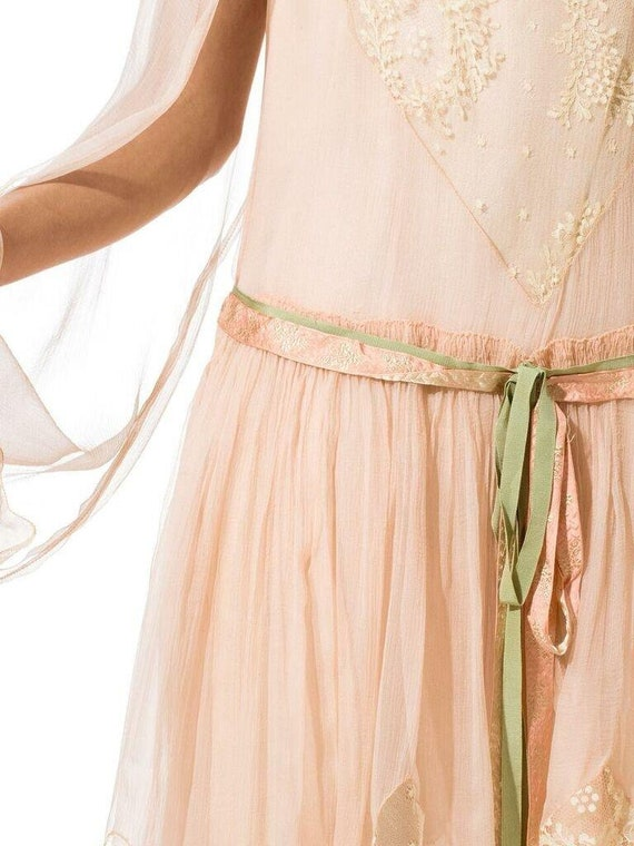 1920S Blush Pink Silk Mousseline  & Ivory Chantil… - image 7