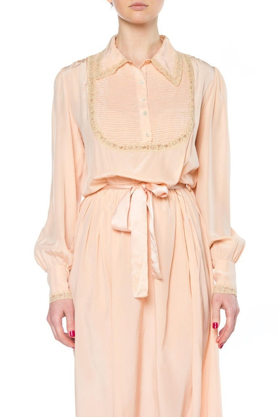 1930S Peach Bias Cut Silk Crepe De Chine Slip Dres