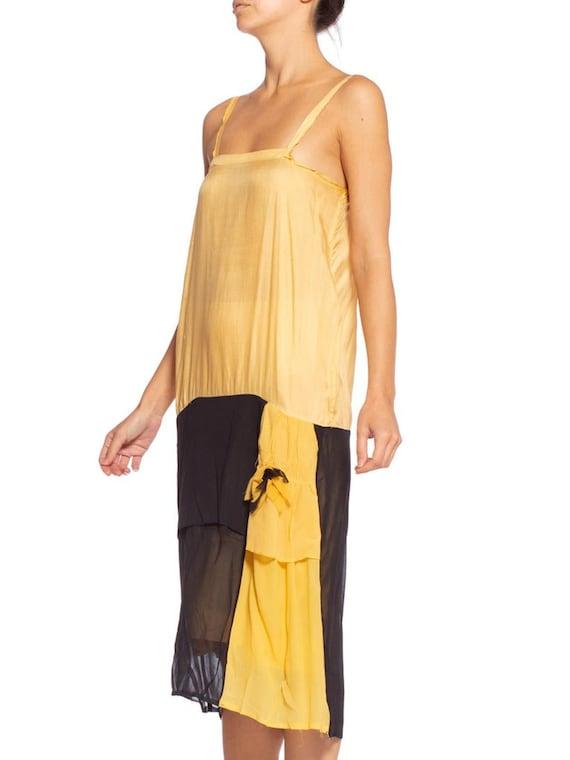 1920's Yellow & Black Silk Chiffon Dress - image 1