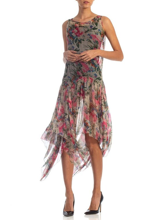 1920S Floral Silk Chiffon Summer Tea Party Dress - image 6