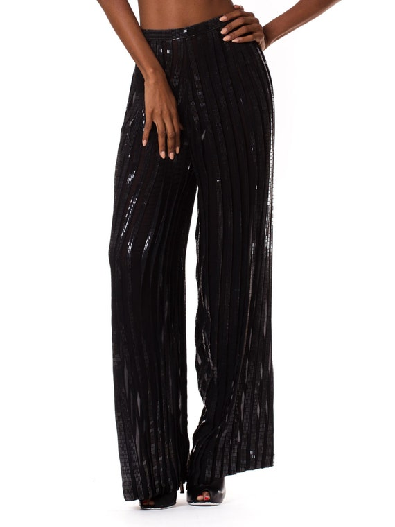 1990s Interestingly Pleated Silk Chiffon Pants   … - image 1