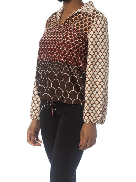 1960S Brown & Orange Polyester Jersey Geometric P… - image 7
