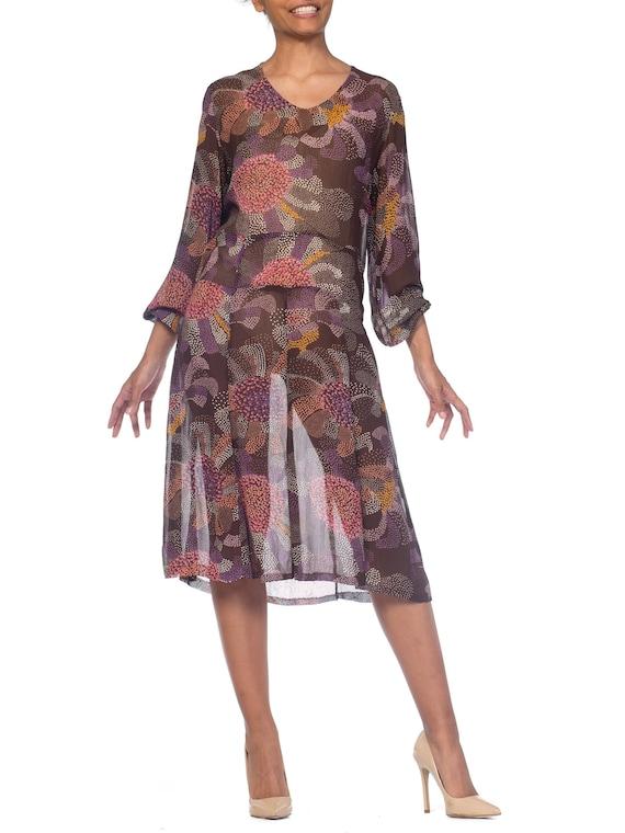 1920s-art Deco Polka Dot Floral Rayon  Georgette D