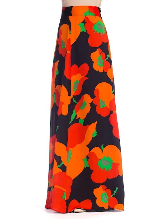 1970S Black & Red Silk Chiffon Poppy Print Fully L