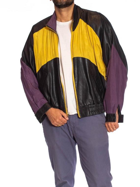 1990S Black Leather Men's Bomber Jacket With Yell… - image 5