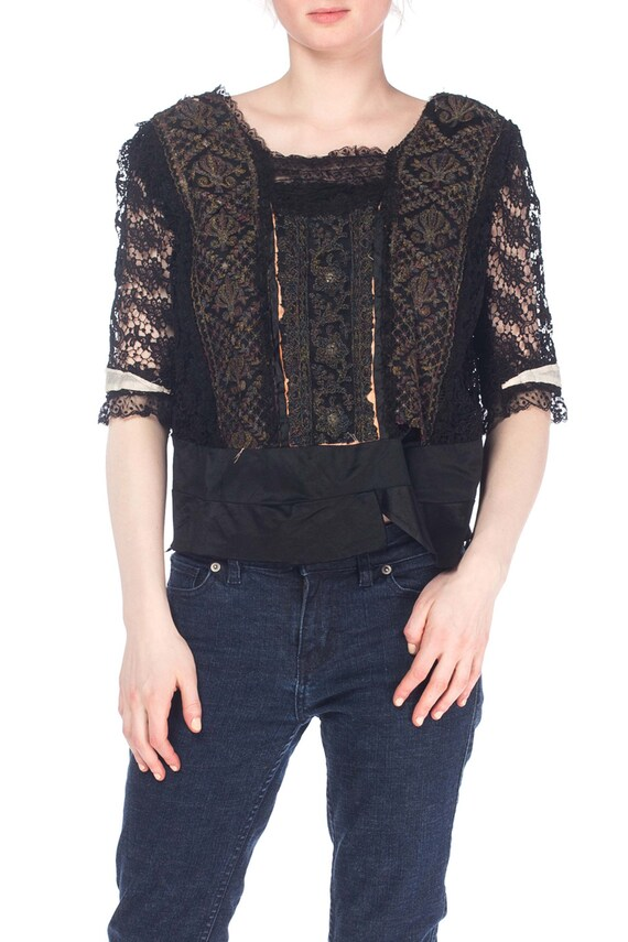 Edwardian Black Silk & Lace Top With Metallic Embr