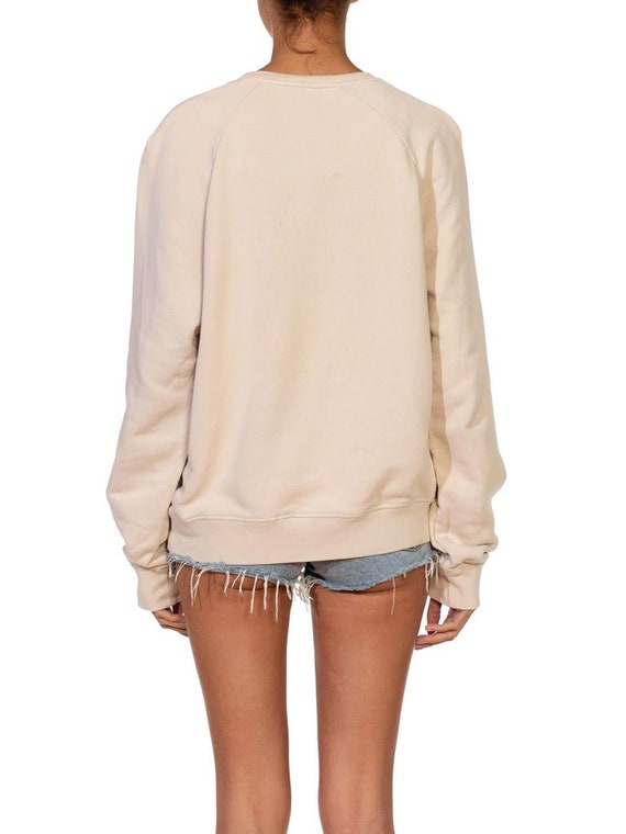 1990S Prada Cream Cotton Long Sleeve Sweatshirt S… - image 9