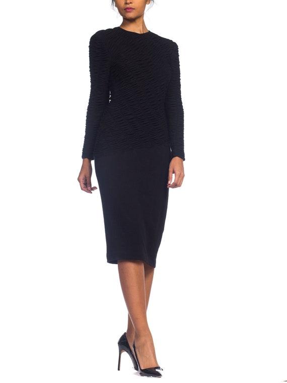 1980S LOUIS FERAUD Black Wool Jersey Long Sleeve R