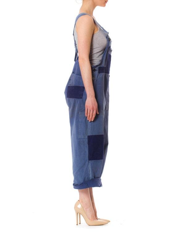 1940S Denim Men's Patchwork French Workwear Overa… - image 3