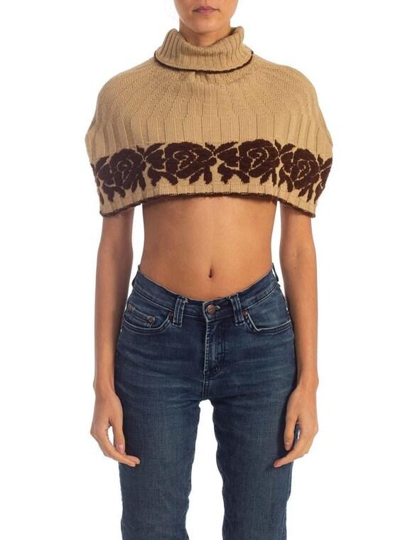 1970S Beige & Brown Wool Blend Knit Sweater Cape W