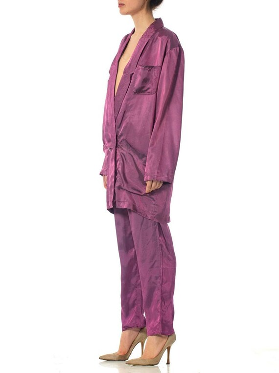 1980S Purple Acetate Taffeta Oversized Blazer Pan… - image 4