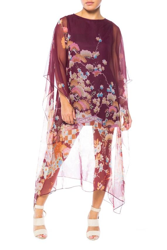 1970S Polyester Chiffon Sheer Asian Floral Print K