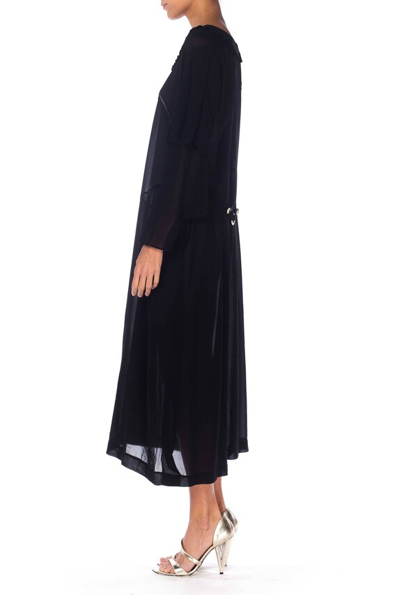 1920S Black Silk Chiffon Long Sleeve Day Dress Wi… - image 5