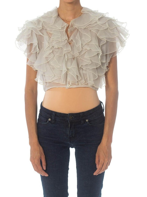 1980S White Polyester Organdy Ruffled Top
