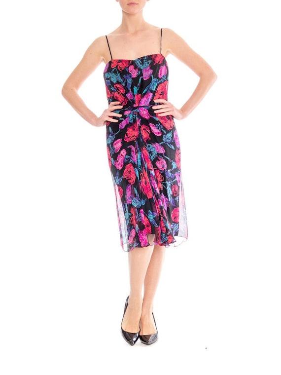 1950S FRANK STARR Silk Chiffon Floral Cocktail Dre