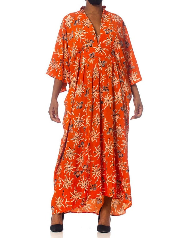MORPHEW COLLECTION Orange Floral Silk Kaftan Made