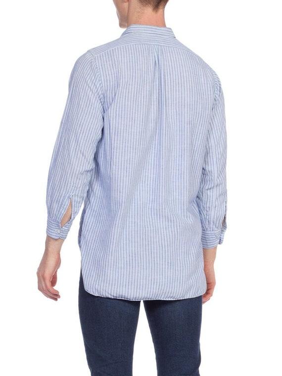 1930S Blue Linen Men's Striped Popover Shirt - image 3